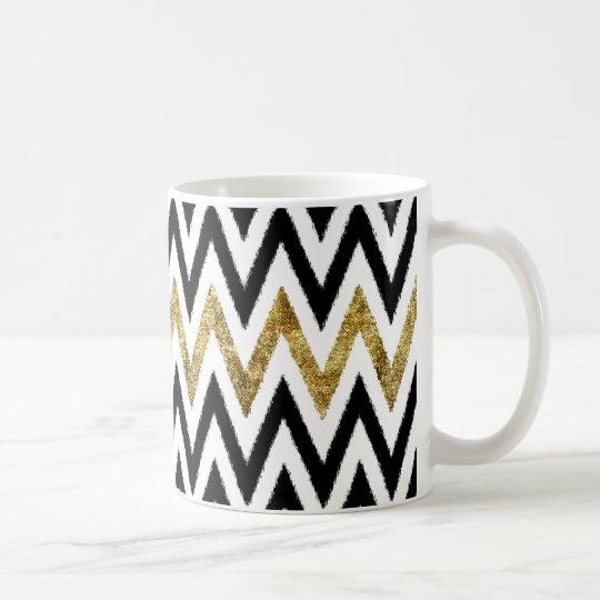 Gold and Black Chevron Stripes Coffee Mug