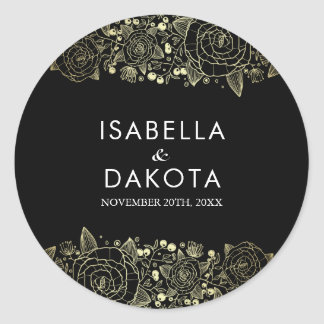 Gold and Black | Chic Floral Wedding Classic Round Sticker