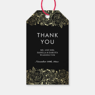 Gold and Black | Chic Floral Wedding Thank You Gift Tags
