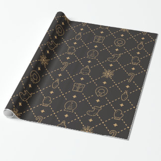 Gold and Black Christmas Symbols Seamless Pattern Wrapping Paper