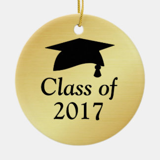 Gold and Black Class of 2017 Graduation Round Ceramic Decoration