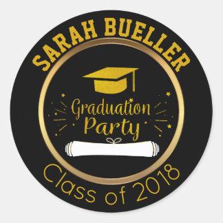 Gold and Black Class of 2018 Graduation Cap Favor Classic Round Sticker