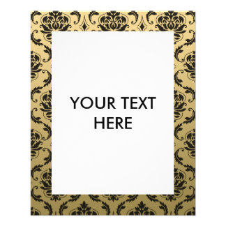 Gold and Black Classic Damask 11.5 Cm X 14 Cm Flyer