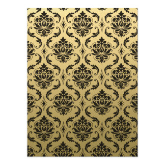 Gold and Black Classic Damask 17 Cm X 22 Cm Invitation Card