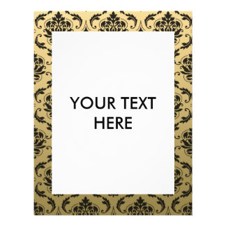 Gold and Black Classic Damask 21.5 Cm X 28 Cm Flyer
