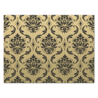 Gold and Black Classic Damask Tissue Paper
