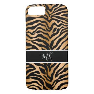 Gold And Black Color Zebra Monogram iPhone 8/7 Case