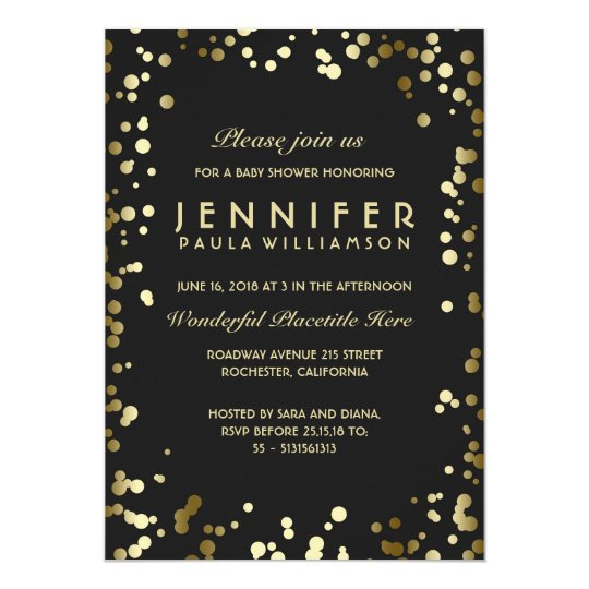 Gold and Black Confetti Dots Vintage Baby Shower