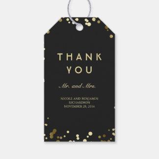 Gold and Black Confetti Elegant Wedding Gift Tags
