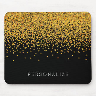 Gold and Black Confetti Mouse Mat