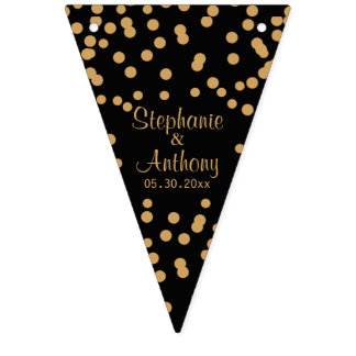Gold and Black Confetti Wedding Bunting