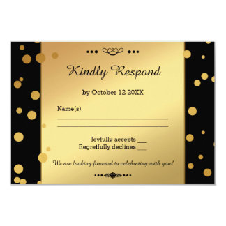 Gold and Black Confetti Wedding RSVP Card 9 Cm X 13 Cm Invitation Card