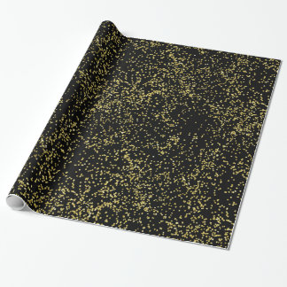 Gold and Black Confetti Wrapping Paper