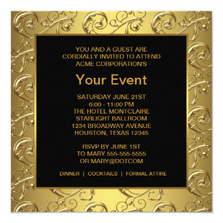 Gold and Black Corporate Party Event 13 Cm X 13 Cm Square Invitation Card
