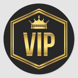 Gold and Black Crown VIP Party Pass Round Sticker