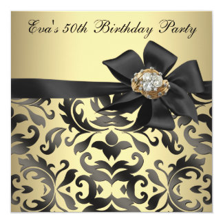 Gold and Black Damask 50th Birthday Party 13 Cm X 13 Cm Square Invitation Card