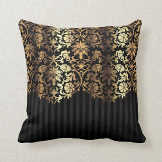 Gold and Black Damask and Stripes Cushion