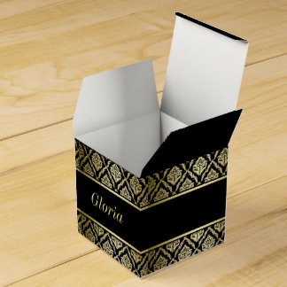 gold and black damask favor box