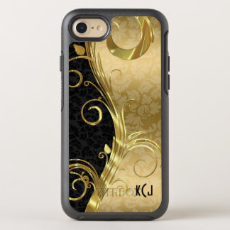 Gold And Black Damask Gold Swirls OtterBox Symmetry iPhone 7 Case