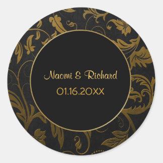 Gold and Black Damask Wedding Seal - Customize Round Sticker