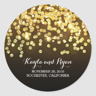 Gold and Black - Diamonds Glitter Wedding Classic Round Sticker