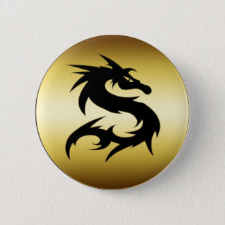 GOLD AND BLACK DRAGON 6 CM ROUND BADGE