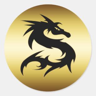 GOLD AND BLACK DRAGON CLASSIC ROUND STICKER