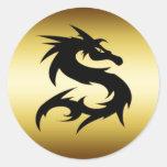 GOLD AND BLACK DRAGON ROUND STICKER