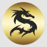 GOLD AND BLACK DRAGON ROUND STICKERS