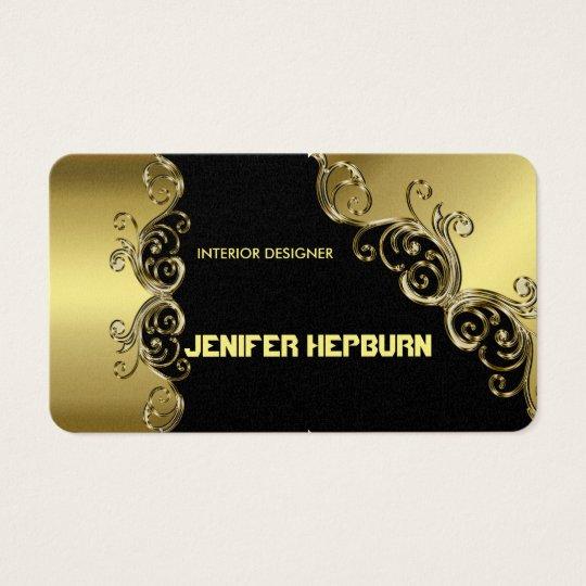 Gold and Black Elegant Business Cards Monogram