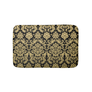 Gold and Black Elegant Damask Pattern Bath Mat