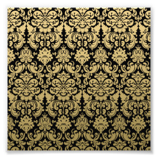 Gold and Black Elegant Damask Pattern Photographic Print