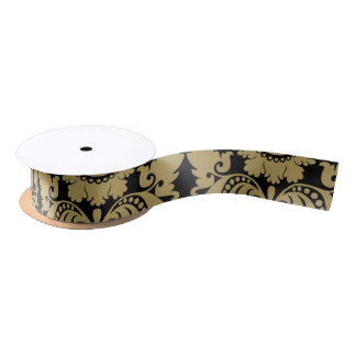 Gold and Black Elegant Damask Pattern Satin Ribbon