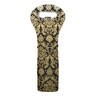 Gold and Black Elegant Damask Pattern Wine Bag