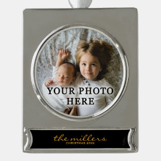Gold and Black Elegant Family Custom Photo Silver Plated Banner Ornament