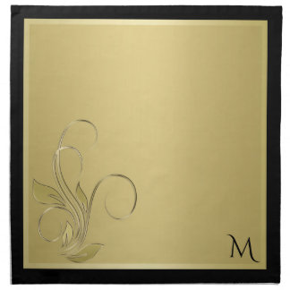 Gold and Black Elegant Monogram Napkins