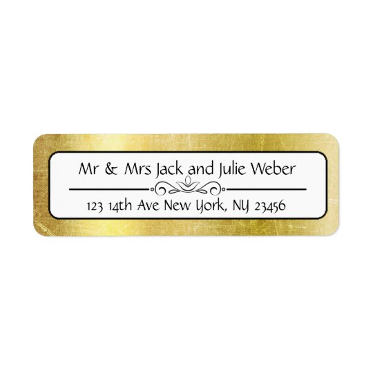 Gold and Black Elegant Return Address Stickers