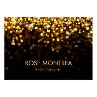 Gold and Black Falling Glitter Bokeh Business Card