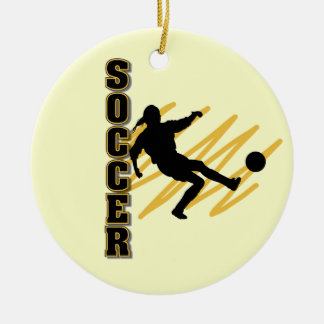 Gold and Black Female Soccer Player Christmas Ornament