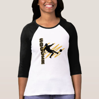 Gold and Black Female Soccer Player T-Shirt