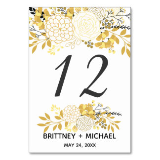 Gold and Black Floral | Table Cards