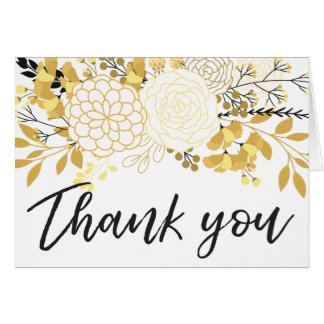 Gold and Black Floral | Thank You Cards