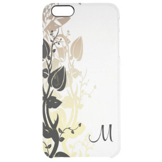 Gold and Black Floral with Monogram Clear iPhone 6 Plus Case
