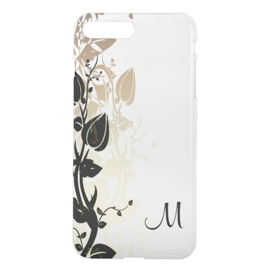 Gold and Black Floral with Monogram iPhone 8