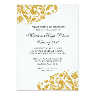 Gold and Black Flourish Class Reunion 13 Cm X 18 Cm Invitation Card