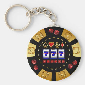 GOLD AND BLACK GAMING POKER CHIP BASIC ROUND BUTTON KEY RING