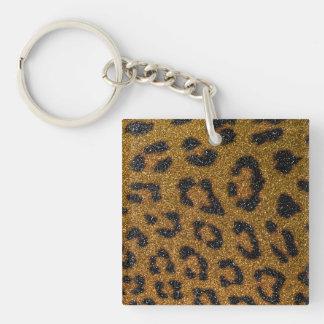 Gold and Black Girly Glitter Cheetah Print Key Ring