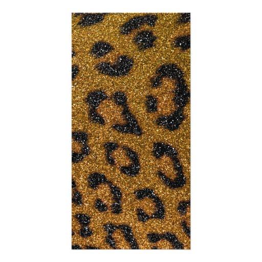 Gold and Black Girly Glitter Cheetah Print Photo Card Template