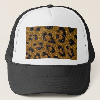 Gold and Black Girly Glitter Cheetah Print Trucker Hat