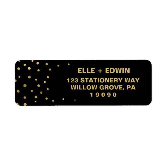 Gold and Black | Glam Confetti Wedding Return Address Label